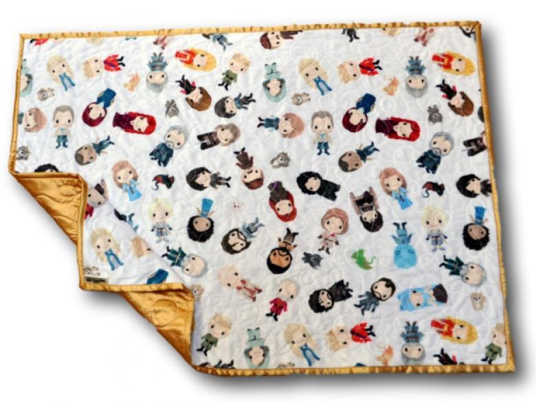Dizi karakterlerinin bulunduğu sevimli bir battaniye