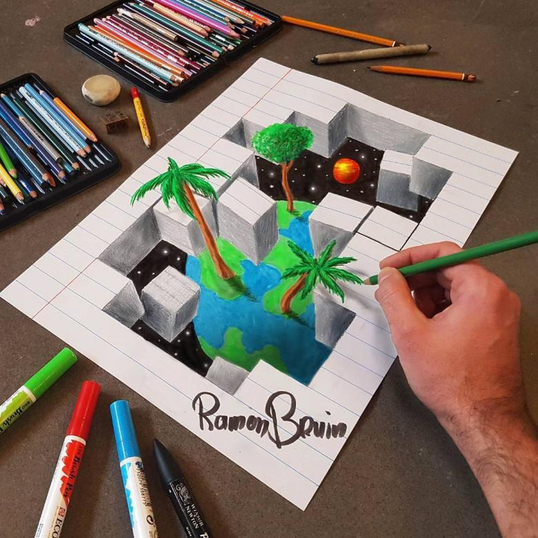 Sadece Çizerek İlüzyon Sanatını Başarılı Bir Şekilde Gerçekleştiren Sanatçı: